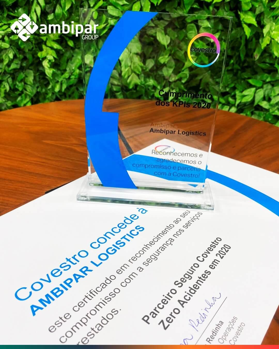 Prêmio Covestro 2021 por ser a melhor fornecedora de serviços logísticos
